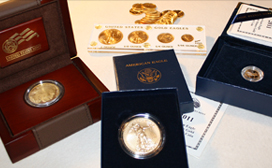 Gold Eagles, Maple Leafs, Silver Dollars, Silver American Eagles, Gold Coins