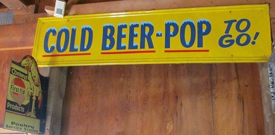 cold beer pop sign
